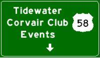 Tidewater Corvair Club Events Sign